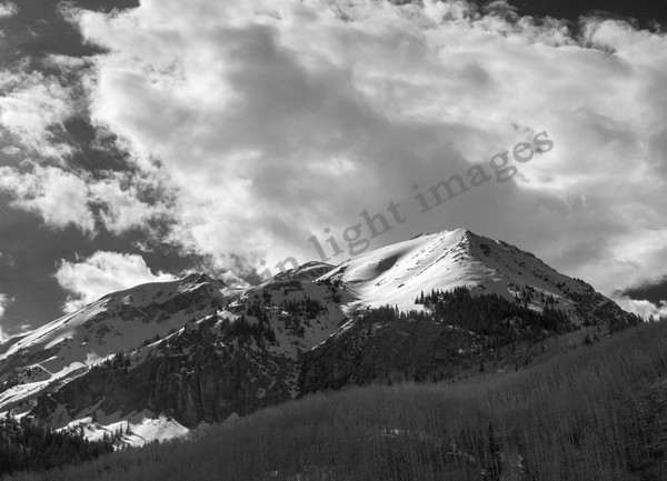 Mountain Light Images, leaky peak ashcroft black and white bw snow clouds graphic moody winter mountains