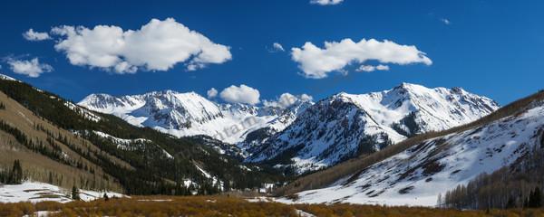 Mountain Light Images, Star Peak Mace Peak Aspen Ashcroft Spring Colorado blue sky snow clouds peaks mountains