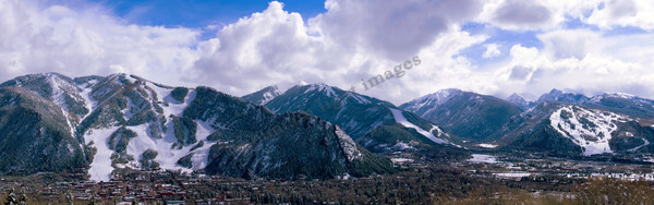mountain light images, aspen four ski areas in winter clouds blue sky colorado snow town