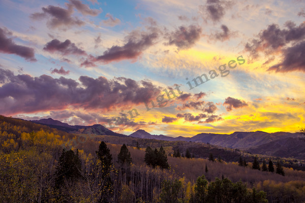 mountain light images, sunset, snowmass village, fall colors, mt daly,