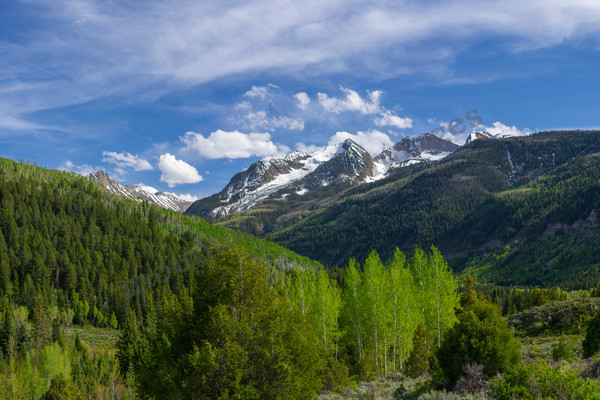 mountain light images, spring greens peaks crystal river marble colorado