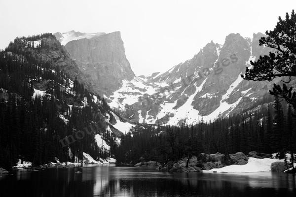 mountain light images, rocky mountain national park, dream lake, hallet peak, black and white