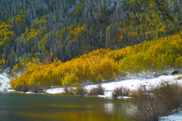 mountain light images crystal lake on red mountain pass in fall after an early snow. southwestern colorado