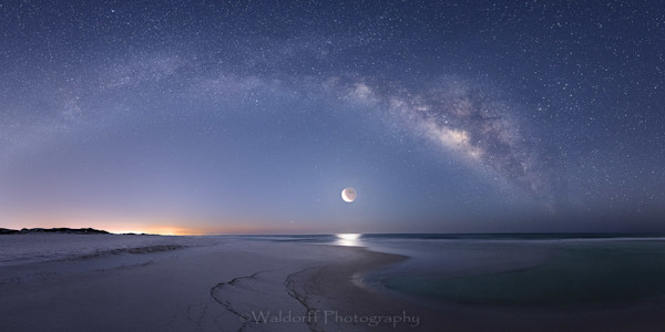 The Milky Way and Crescent Moon rising over the Gulf of Mexico on Gulf Islands National Seashore | Waldorff Photography