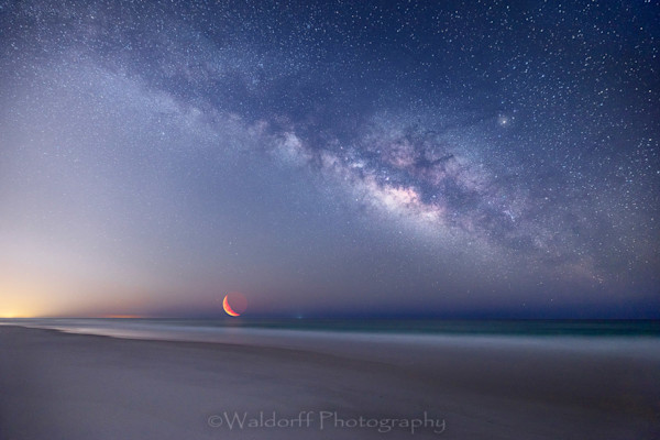 The Milky Way and Crescent Moon rising over the Gulf of Mexico near Pensacola  | Waldorff Photography