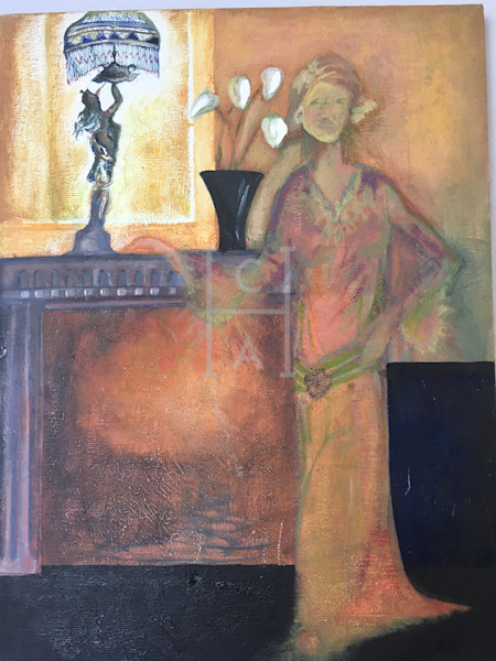 1920s Woman By the Fire de Camille High Quality Giclee Print Art