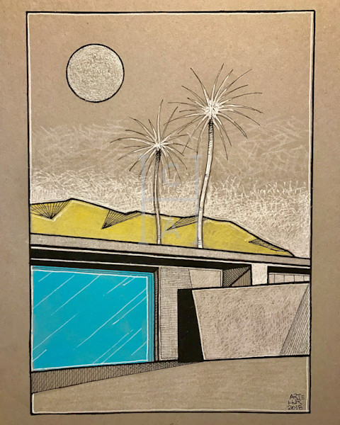 Palm Springs Drawing by Arthur High Quality Giclee Print Art, Cool Art House