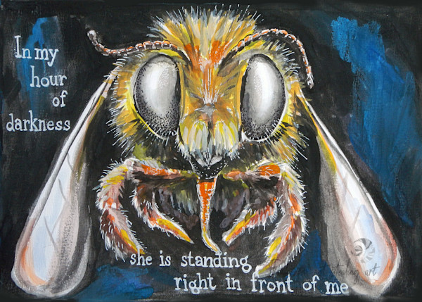 Hello Bee Painting, Fine Art Print of a Bee Close-up | Fine art and paintings by Tif Choate | Snaiil candy, Snail candy art | Bold Artist