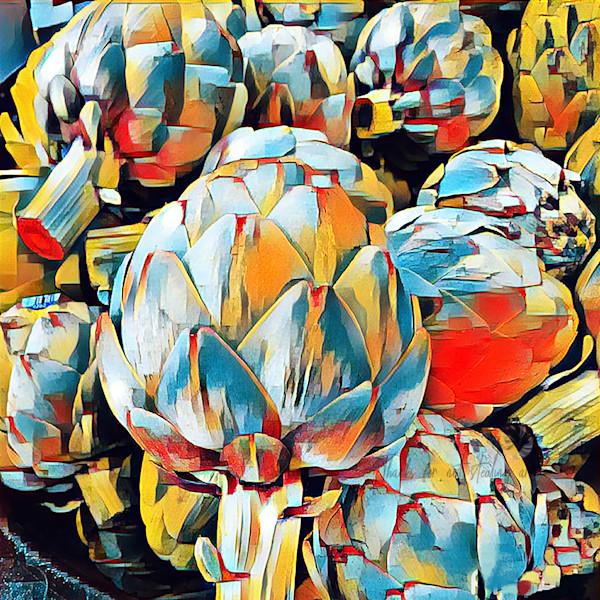 Art prints of digital artichoke art. Colorful abstract Artichokes Painting