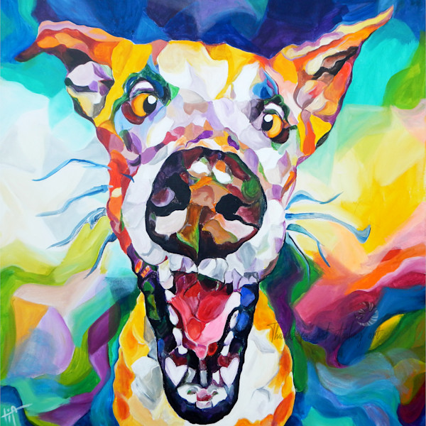 Snail Candy   Snail candy Art Studio   painting by Tif Choate, Good Boy Art Print. Painting of a happy Great Dane Dog