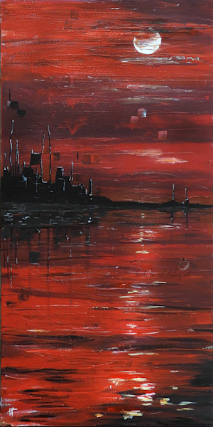Painting of Red Yangtze river, this low key moonlit art evokes peace and wonder. Portrays red water, pollution, China, compared to South Platte River in Colorado
