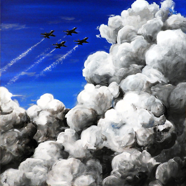 'Thunderbirds' is a painting of F-16 Thunderbird US Air Force Jets soaring through a thundercloud filled sky