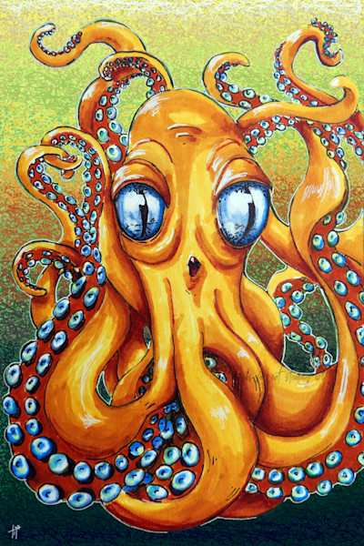 cephalopod art | octopus Art | Vibrant Animal painting | Artwork by Tif Choate