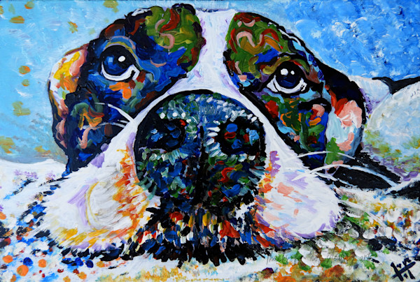 Snail Candy   Snail candy Art Studio   painting by Tif Choate, 'Those Eyes' Dog Painting   Art Print of Dog