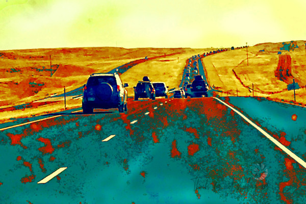 Buy an art print of this landscape on the long road home