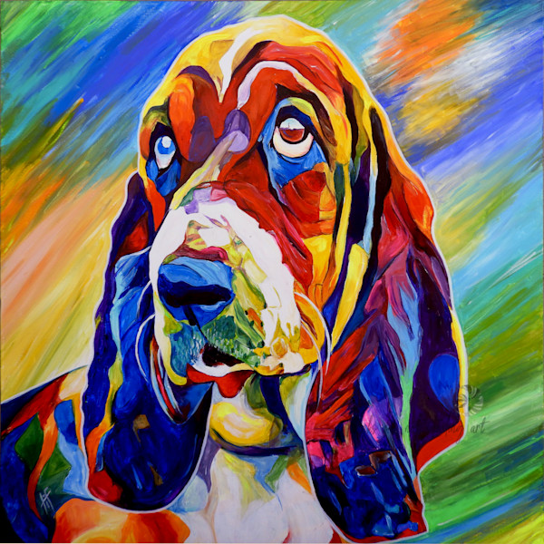 Snail Candy   Snail candy Art Studio   painting by Tif Choate, Walter Fielding, To Be Exact Art Print. Painting of a Basset Hound Dog