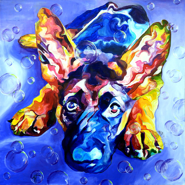 Snail Candy   Snail candy Art Studio   painting by Tif Choate, 'Marvel' Dog Painting   Art Print of Dog, German Shepherd puppy
