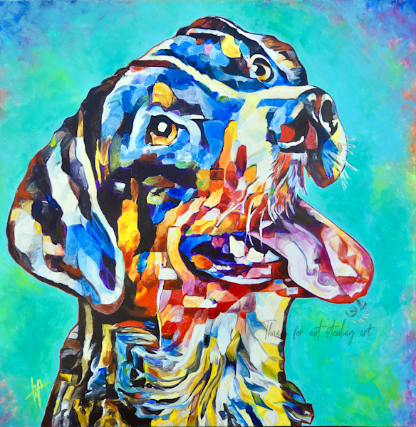 Snail Candy   Snail candy Art Studio   painting by Tif Choate, 'She is Hunter' Dog Painting   Art Print of Dog   Original art by Tif Choate