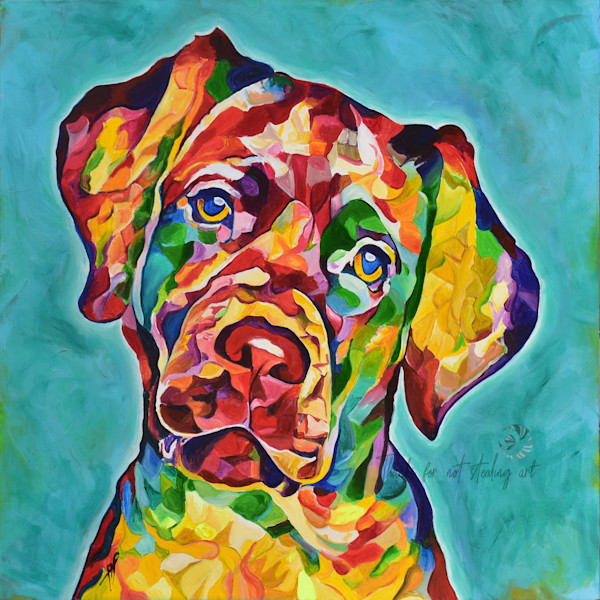 Snail Candy   Snail candy Art Studio   painting by Tif Choate, 'Do You Love Me?' Dog Painting, Dog art Print, Labrador dog, Lab, Yellow Lab