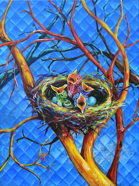 baby bird painting | Art by Tif Choate of Snaiil Candy Art, snaiilcandy.com | Bold Art