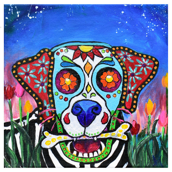Snail Candy   Snail candy Art Studio   painting by Tif Choate, Day of the Dead, Dia de Los Muertos Perro, Dog Art