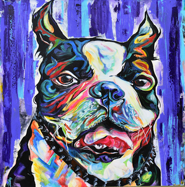 Snail Candy   Snail candy Art Studio   painting by Tif Choate, Dog Portrait   Paintings by Tif Choate   Art by Tif   Boston Terrier art