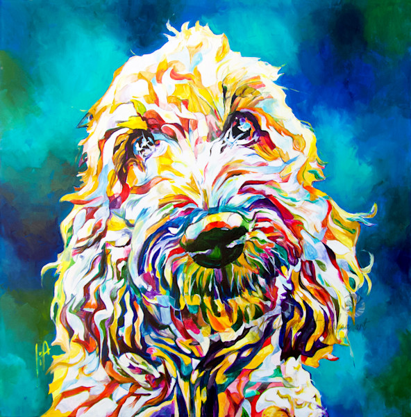 Snail Candy   Snail candy Art Studio   painting by Tif Choate, Kina, commission, custom artwork by Tif Choate, doodle dog, Labradoodle