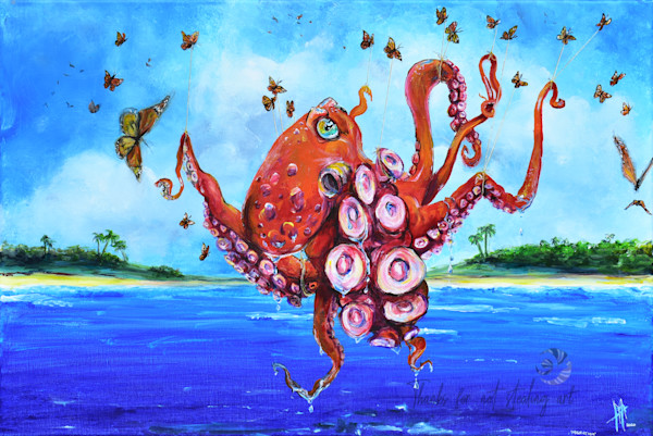 Multi media art | Octopus art | Monarch butterfly carrying an Octopus, painting by Tif Choate | Snaiil Candy Art