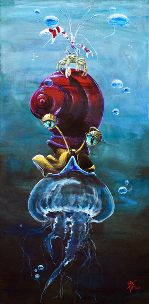 Hitchhikers | Sea Life painting | Artwork by Tif Choate | Snail Candy Art