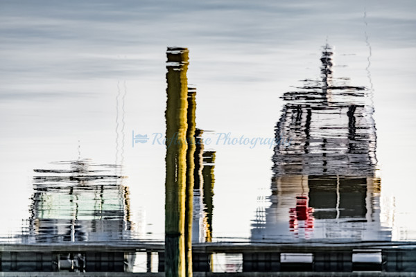 Docked. Fine Art Photograph of Reflection in Water of Boats