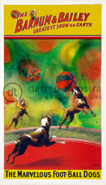 Football Dogs Circus Poster