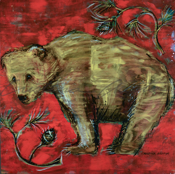 Golden brown bear painting