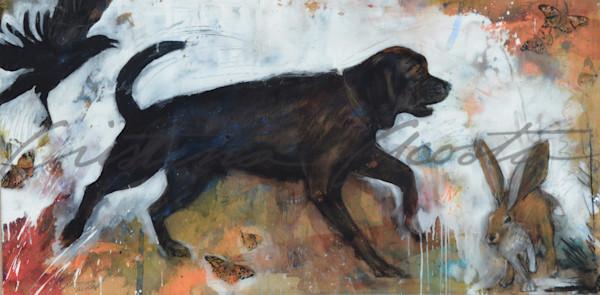 happy black lab dog