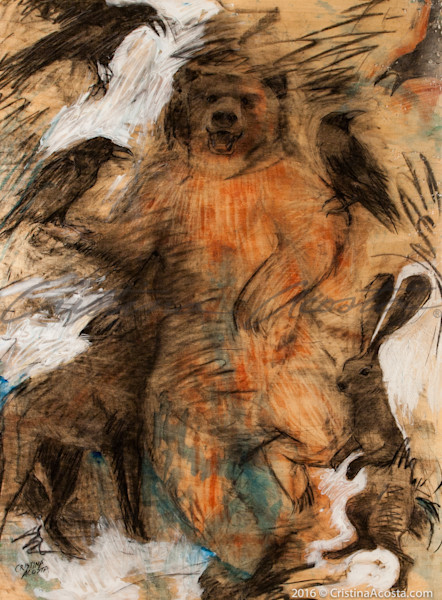 Bear Dancing with Tricksters - Coyote, Raven, Hare