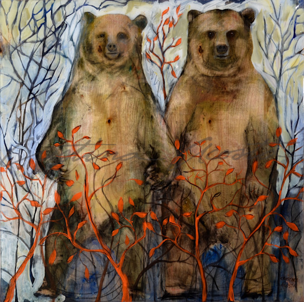 Bears in Love standing holding hands mountain landscape