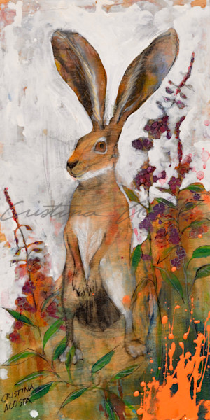 jackrabbit hare standing in fireweed bloom rabbit art