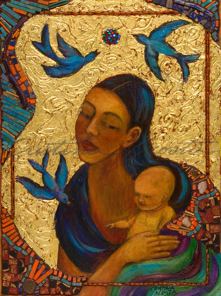 Madonna and Child with Birds altar retablo by Cristina Acosta