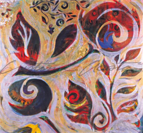 Bold contemporary rose floral with bluebird colorful art, Cristina Acosta