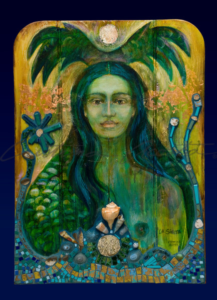 La Sirena The Green Mermaid Exvoto Retablo Altar