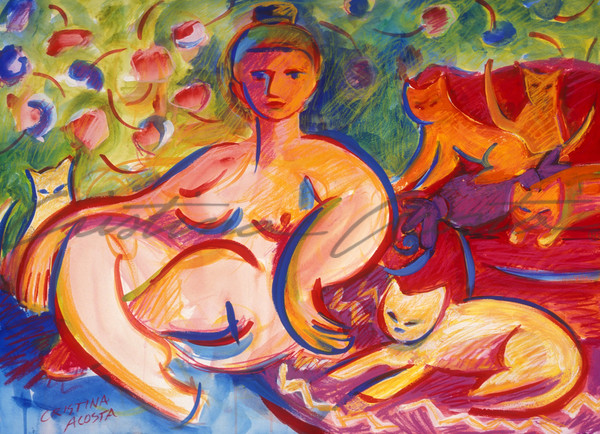 Goddess with Cats