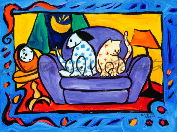 Spotted Dog And Calico Cat Side By Side On The Sofa Sat Art | Cristina Acosta Art & Design llc