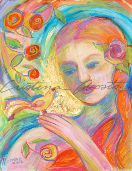 Yellow Bird Singing Art | Cristina Acosta Art & Design llc