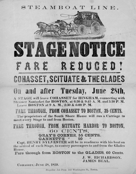 Cohasset-Scituate Stagecoach Notice 1850