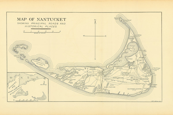 Nantucket-Map Of Roads + Historic Places