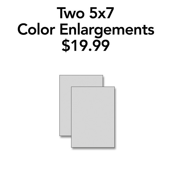 Two 5x7 Color Enlargements