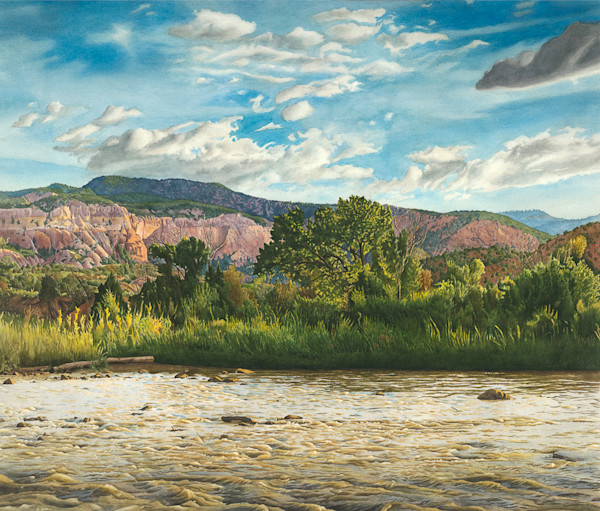 Cottonwood on Chama River,watercolor, landscape, watercolor landscape, chama river, New Mexico, Southwest landscape, Southwest