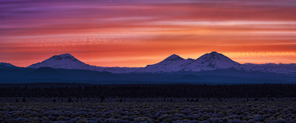 Sunset over the Three Sisters, Oregon giclee print