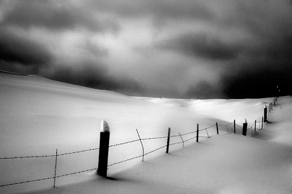 Fence in the snow, Pagosa Springs, Colorado