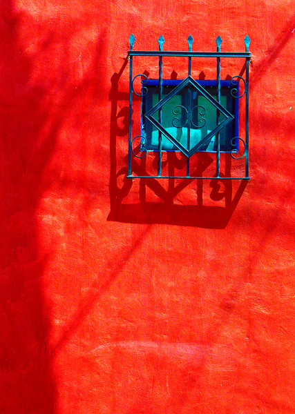 Redwall-blue-window, Ajijic, Mexico
