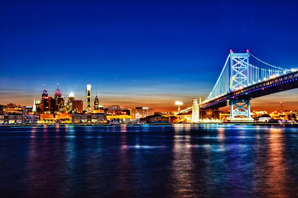 Philly Skyline at Night Fine Art Photograph by Robert Lott